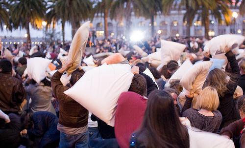 Annual Valentines Day Pillow Fight in Downtown SF. 22663612