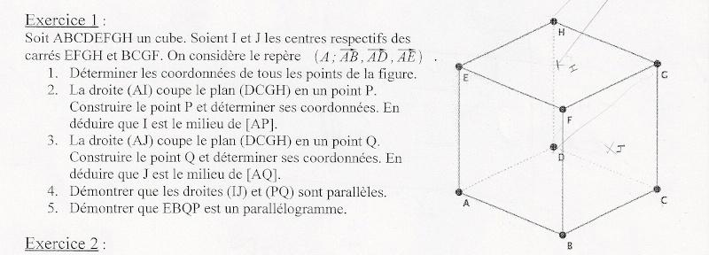 exercice vecteurs de l'espace Numari10