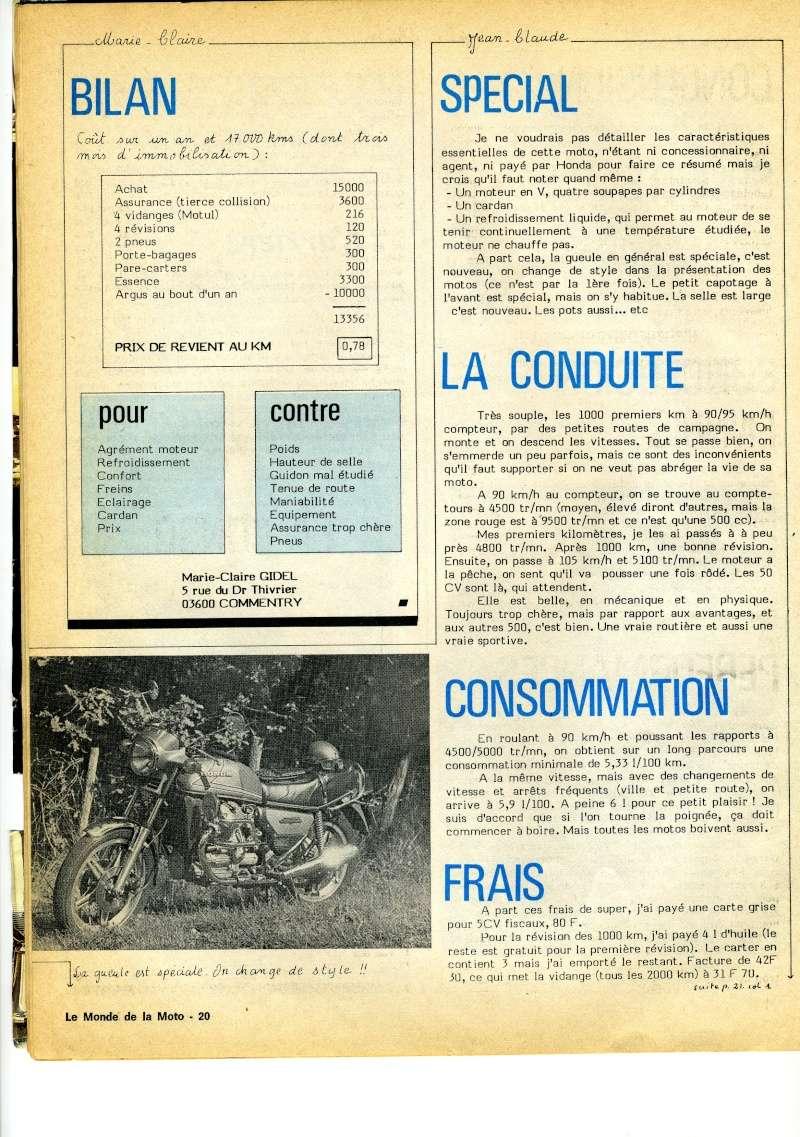 Honda CX500, la vérité. Le monde de la moto, avril 1979 Img16710