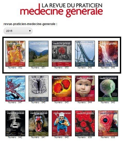 La revue du praticien - Médecine Générale-  Les 5 derniers Numéro de 2015 Rp10