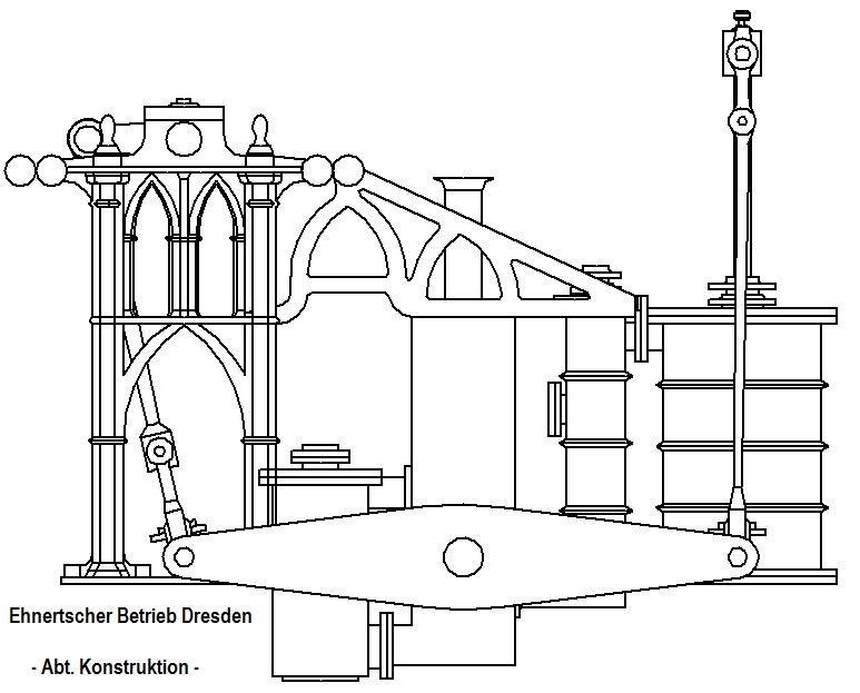"""Dampfmaschine des Dampfbootes """"Königin Maria"""" von 1837 - M1:15 Dkm-1610"""