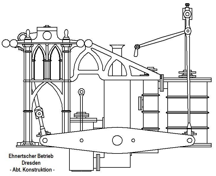 """Dampfmaschine des Dampfbootes """"Königin Maria"""" von 1837 - M1:15 Dkm-1710"""