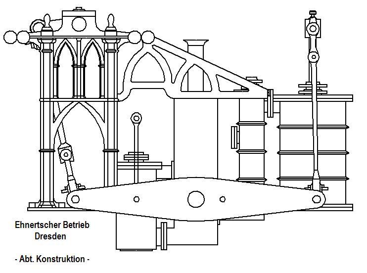 """Dampfmaschine des Dampfbootes """"Königin Maria"""" von 1837 - M1:15 Dkm-1910"""