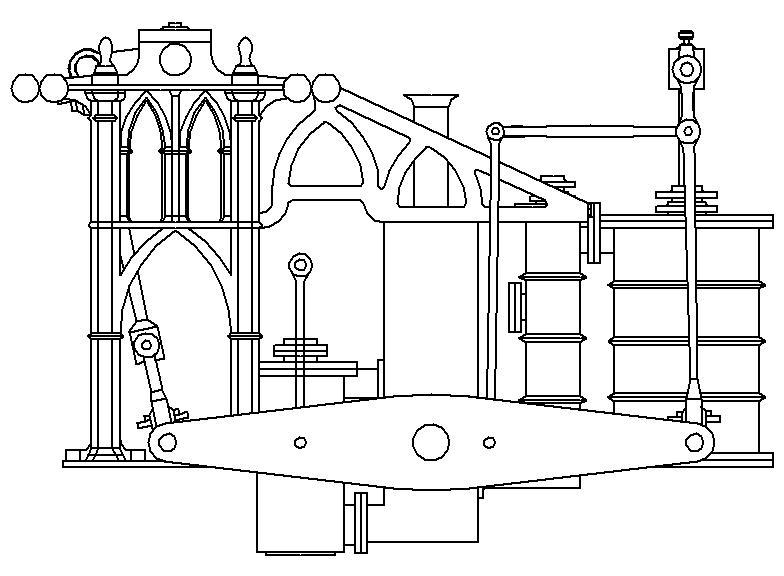 """Dampfmaschine des Dampfbootes """"Königin Maria"""" von 1837 - M1:15 Dkm-2010"""