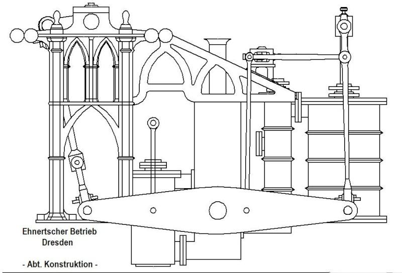 """Dampfmaschine des Dampfbootes """"Königin Maria"""" von 1837 - M1:15 Dkm-2210"""