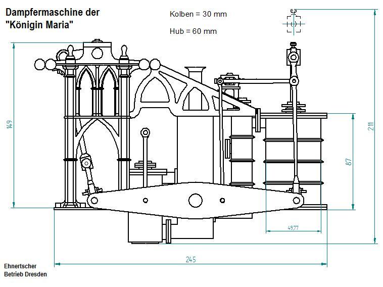 """Dampfmaschine des Dampfbootes """"Königin Maria"""" von 1837 - M1:15 Dkm-2410"""