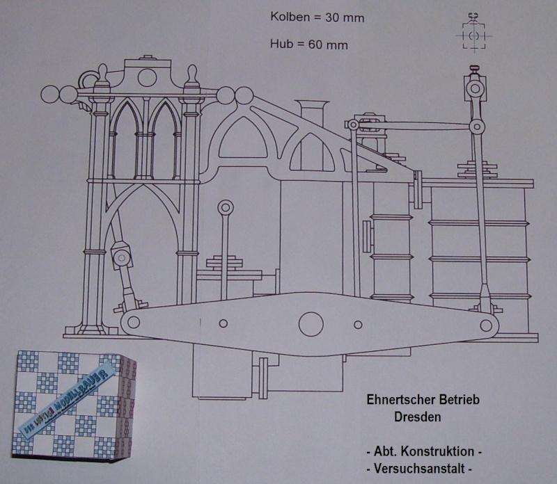 """Dampfmaschine des Dampfbootes """"Königin Maria"""" von 1837 - M1:15 Dkm-2510"""