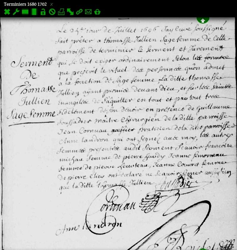 Serment d'une Sage-femme en 1696 Sermen10