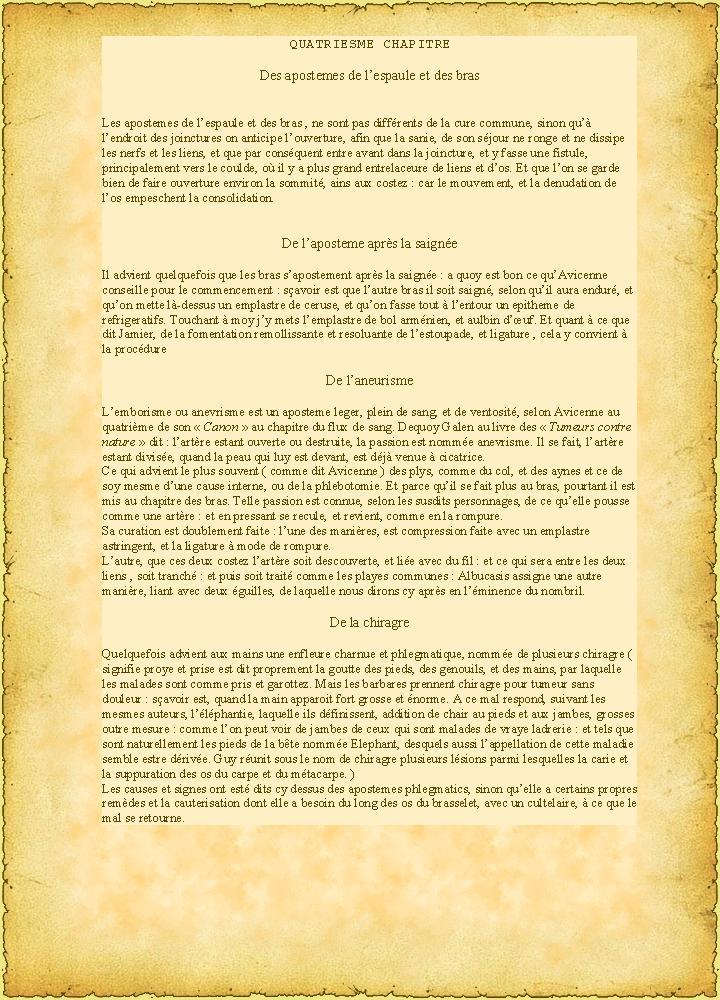( Doctrine Seconde ) QUATRIESME CHAPITRE  Des apostemes de l'espaule et des bras P20010