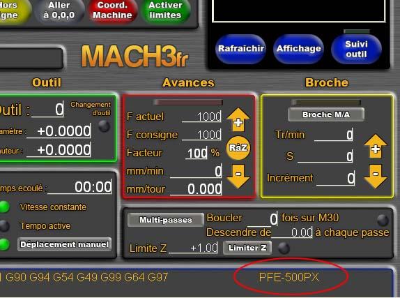 premiers essais avec Mach3, premiers problèmes Mach3f11