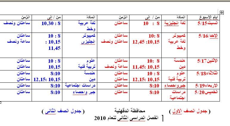 جدول امتحان الفصل الدراسى الثانى للصفين الاول والثانى2010 Untitl87