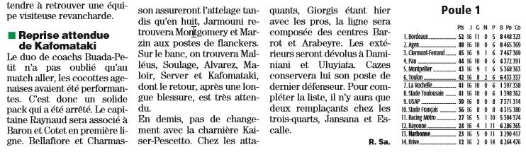 J17 Tarbes / Narbonne vendredi 29 janvier 2016 19h30 Scree101