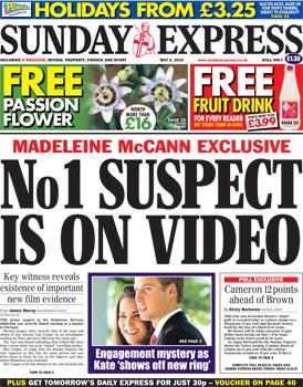 Sunday Express - tomorrow's front page 2may10