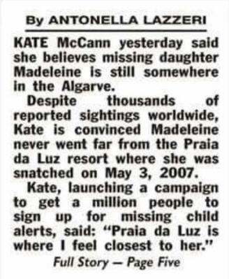 Kate McCann: Maddie - Still in the Algarve Km11