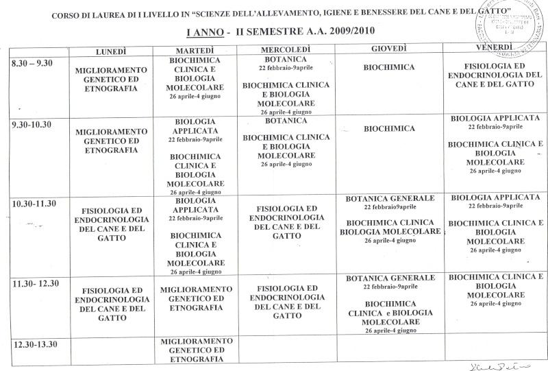 ORARI LEZ 2 SEM 1 ANNO CANE E GATTO Orario10