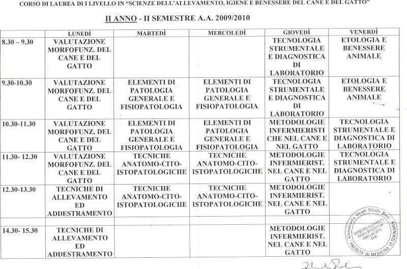 ORARIO LEZ 2 SEM 2 ANNO CANE E GATTO Orario14