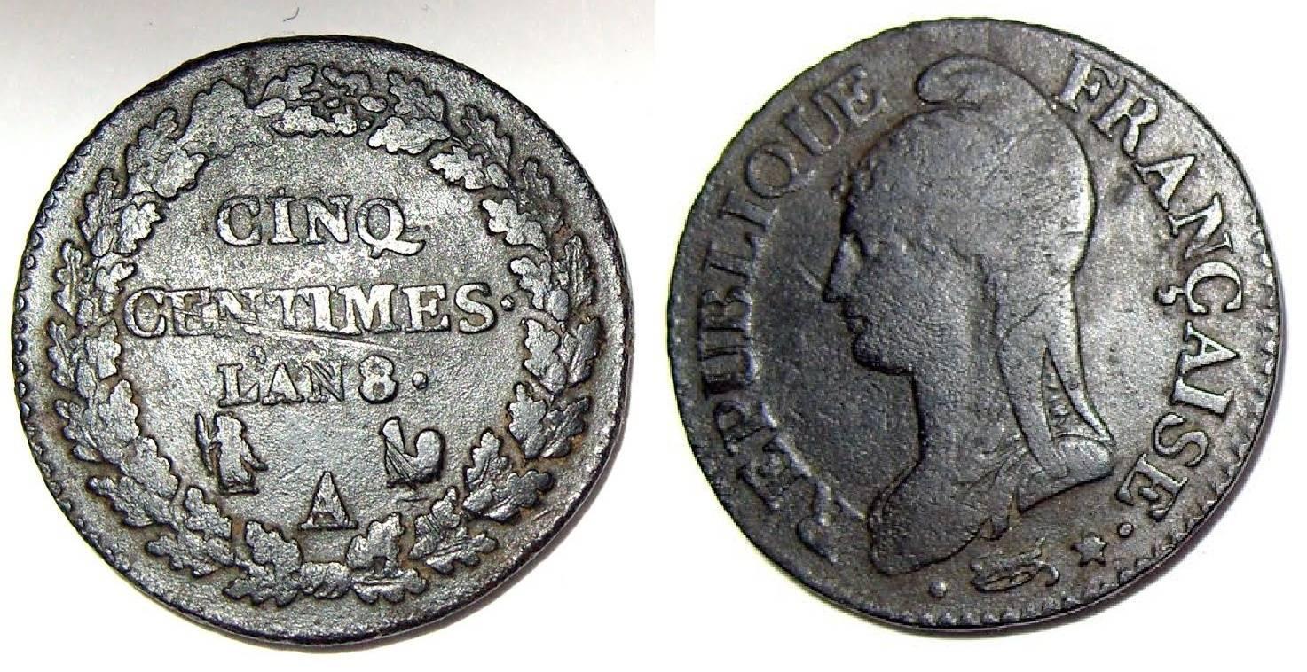 cinq centimes dupré an 8 Monaie10