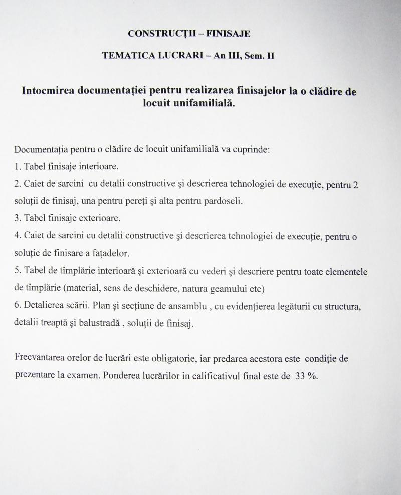 An III - Tema la Finisaje, Proiect Tehnic P3010110