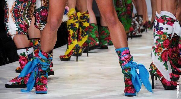 Обувь из павлопосадских платков Yanast10
