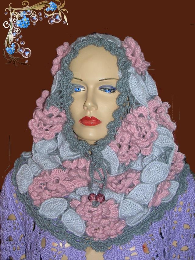 Вязаный снуд, вязаный шарф, вязаный капюшон Dscn3910