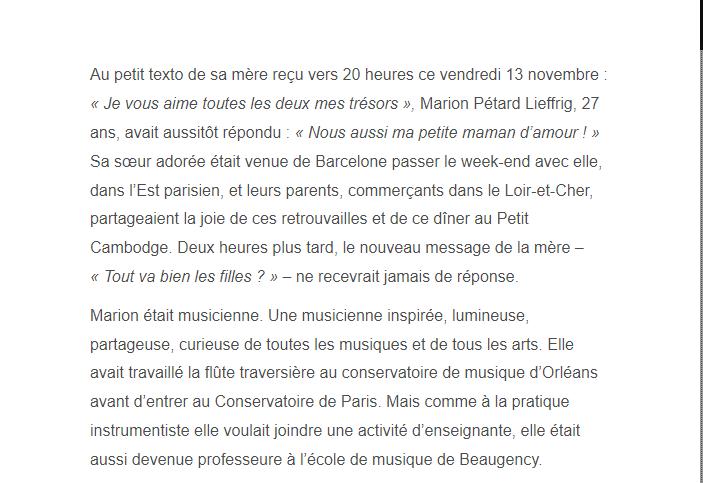PARIS 13/11/2015 - Page 2 Marion11