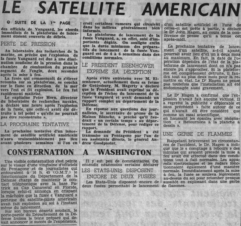 """6 décembre 1957: tentative de lancement Vanguard """"Flopnik"""" 57120912"""