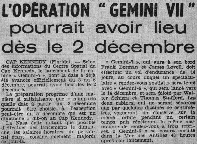 4 décembre 1965 - lancement de Gemini 7 65110910
