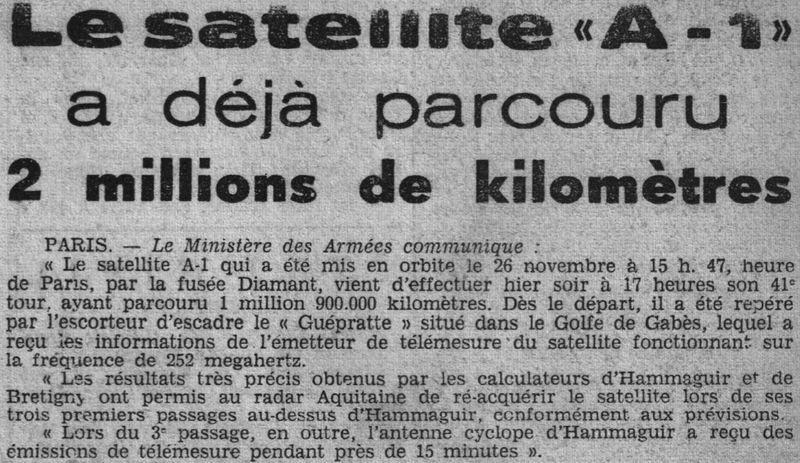 26 novembre 1965 - La France 3ème puissance spatiale 65120110