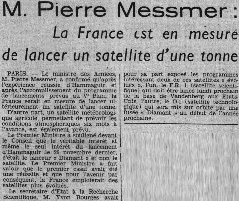 26 novembre 1965 - La France 3ème puissance spatiale 65120310
