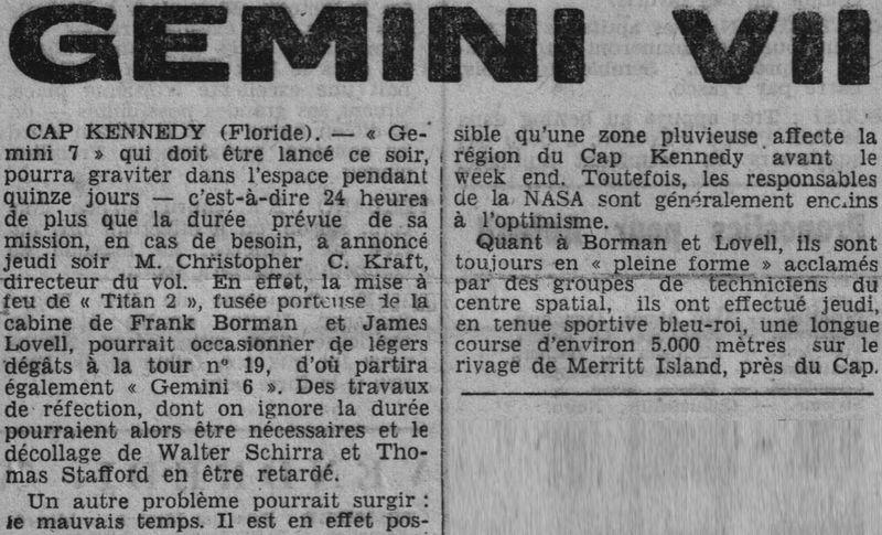 4 décembre 1965 - lancement de Gemini 7 65120611