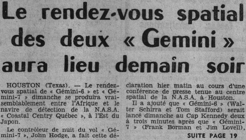 4 décembre 1965 - lancement de Gemini 7 65121310