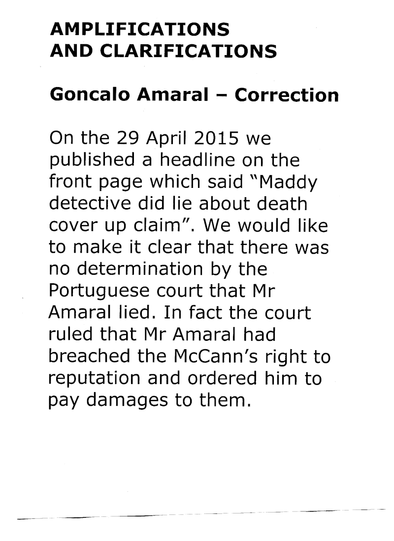 Goncalo Amaral DID NOT LIE about Madeleine: Today (7 Dec 2015) Daily Express publishes, on page 21, an offical correction to its 29 Apr 2015 headline  Expres10