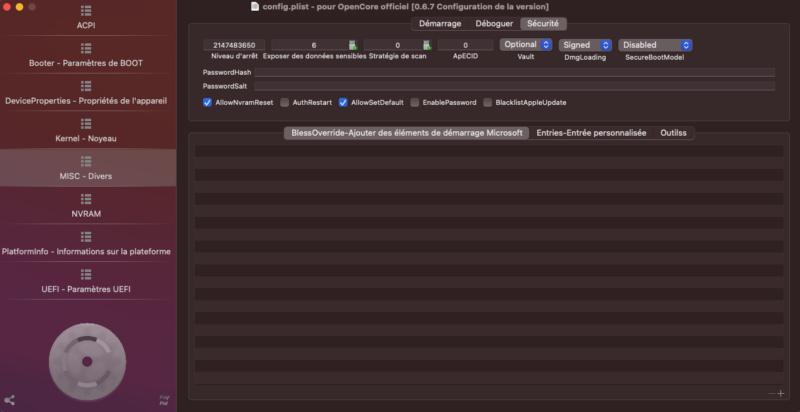 Probleme install high sierra et bios avec opencore Captur44