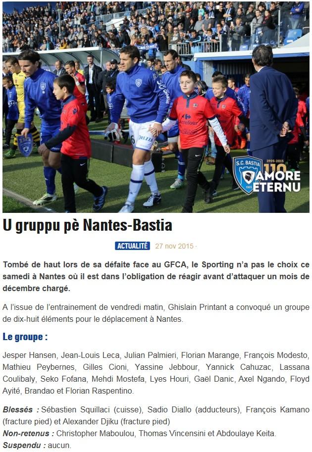 J15 / Jeu des pronos - Prono Nantes-Bastia S22