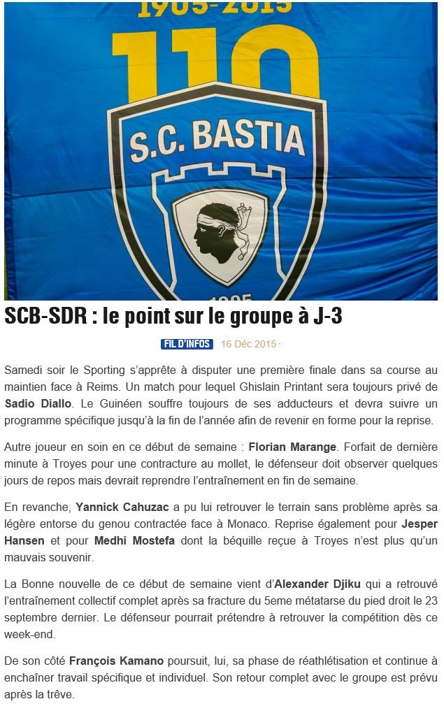 Avant match : Bastia - Reims S47