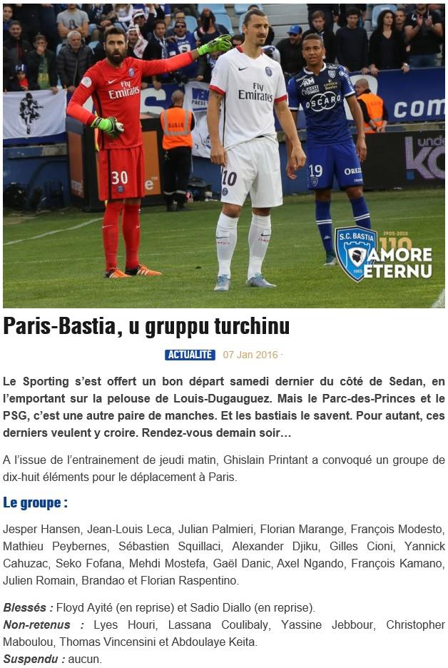 J20 / Jeu des pronos - Prono PSG-Bastia S61