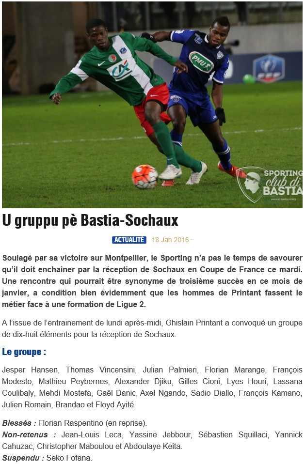 16CdF / Jeu des pronos - Prono Bastia-Sochaux S72