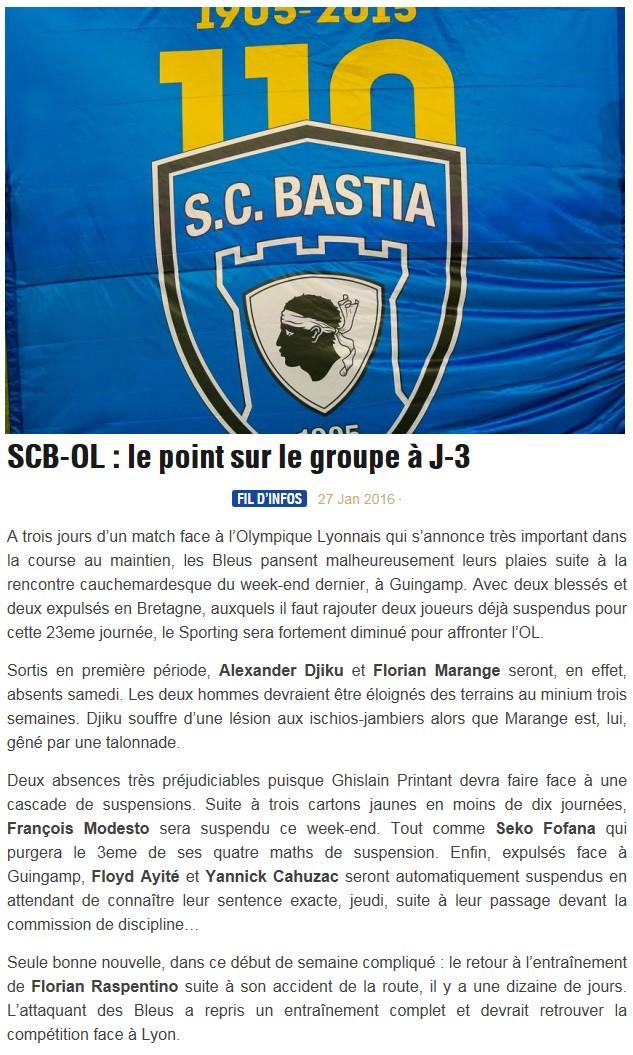 Avant match : Bastia - Lyon S77