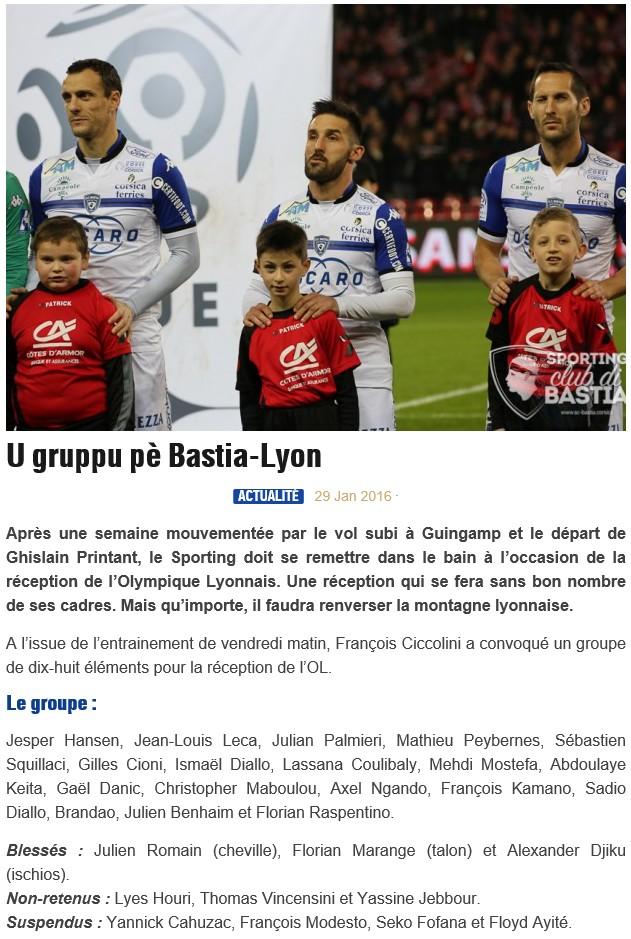 J23 / Jeu des pronos - Prono Bastia-Lyon S79