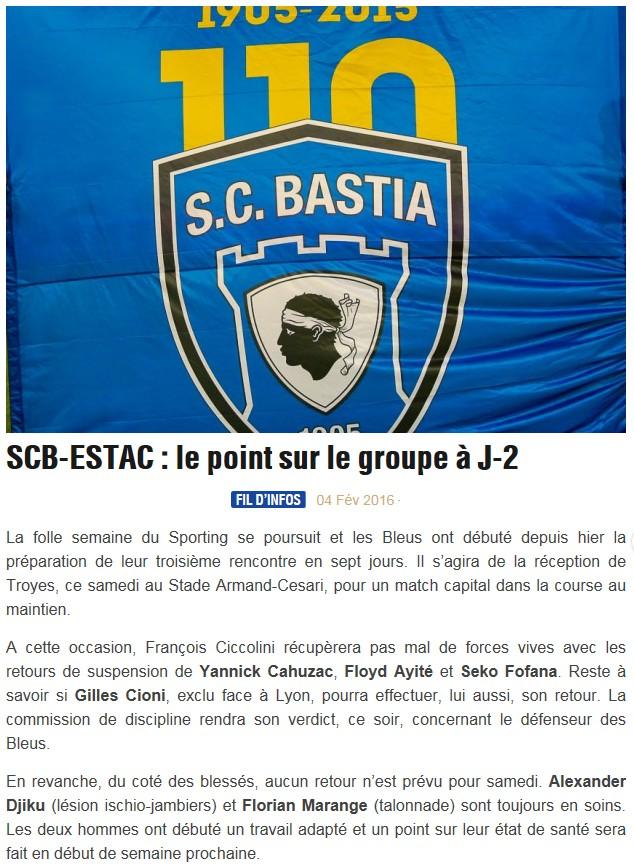 Avant match : Bastia - Troyes S82