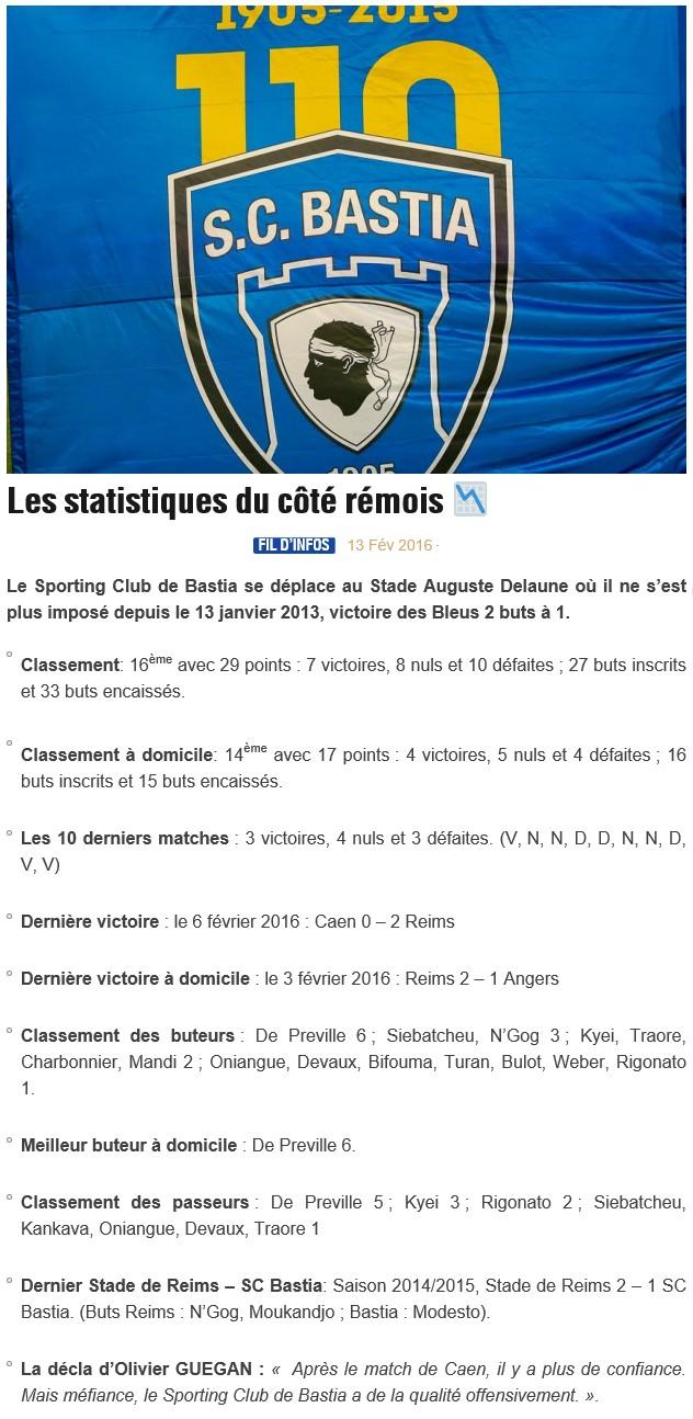 Avant match : Reims - Bastia S93