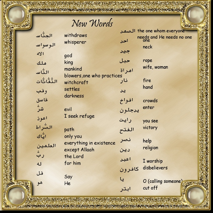 List of New Arabic Words from the Surahs revised -Cool Graphics Newwor12