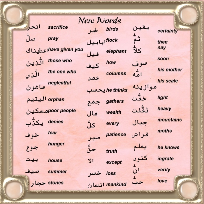 List of New Arabic Words from the Surahs revised -Cool Graphics Newwor14