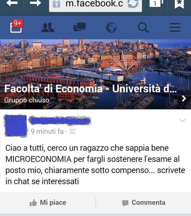 Genova, cerca su Fb sostituto all'esame dell'università 94e6a310