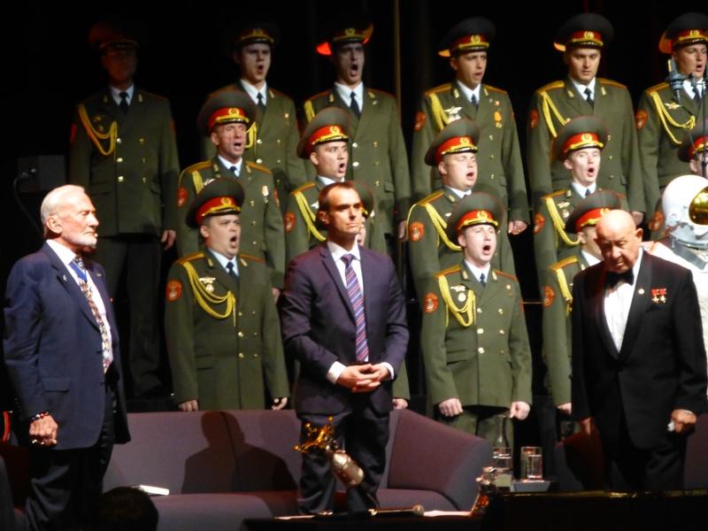 Buzz Aldrin et Alexeï Leonov à Lausanne le 13 novembre 2015. SwissApollo. 12310