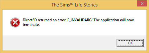 "The Sims Life Stories ""Direct3D returned an error: E_INVALIDARG!"" error - fix. 1ddfce10"