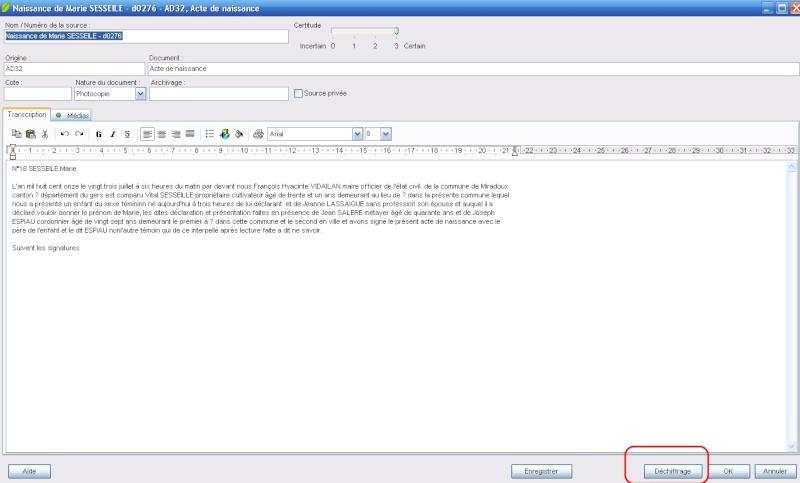 Utilisation de Transcript A21