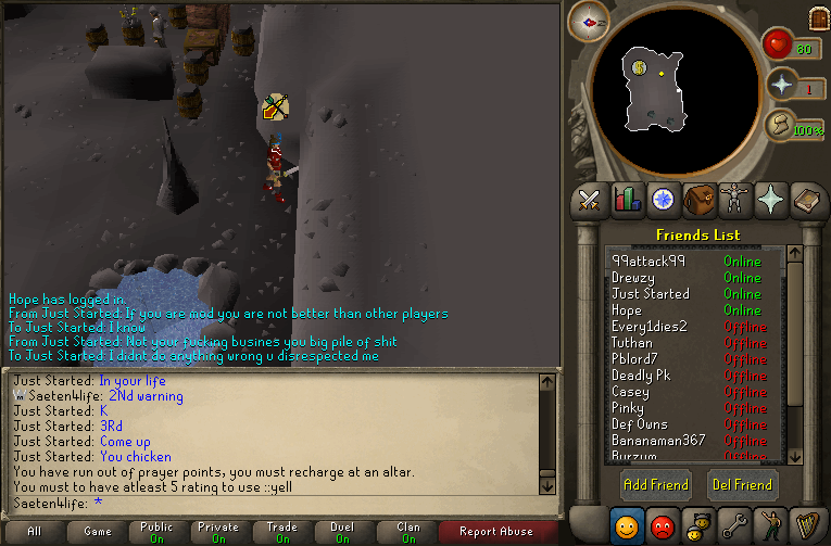 just started calling me a piece of shit and said i abused for pking 002310