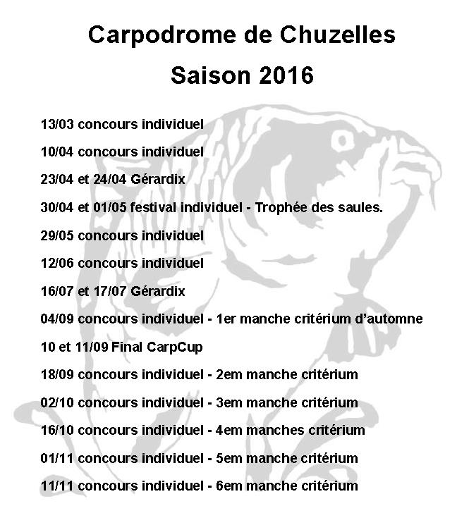 Calendrier des concours du carpodrome de chuzelles 2016 Carpod12