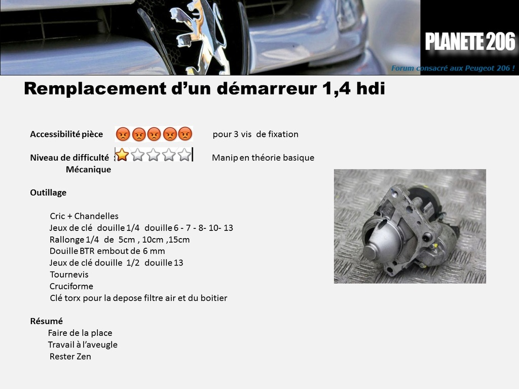 REMPLACEMENT DEMARREUR 206 1.4 Hdi  ( TUTO  en cours) Diapos10